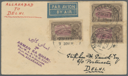 Indien - Flugpost: 1931-32: Three Airmail Covers, With 1) 1931 Allahabad-Croydon Flight Via Imperial Airways, Franked In