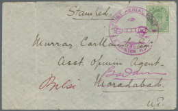"""Indien - Flugpost: 1911 """"First Aerial Post"""" Cover To An Asst. Opium Agent At Moradabad, Re-addressed To Budaun, Franked"""