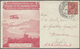 """Indien - Flugpost: 1911 """"First United Kingdom Aerial Post"""" Illustrated Cover + Respective Folded Card Inside, Sent From"""