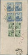 "China: 1948, China Merchant Navigation Co. 75 Years $20.000 Blue (block-4) With Gold Yuan 1/2 F. Block-4) Tied ""NANKING"