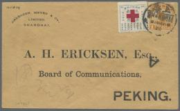 """China: 1914, Junk 1 C. Tied """"SHANGHAI 21 MAY 20"""" To Unsealed Printed Matter Envelope To Peking W 2 JUN Backstamp, Also T"""