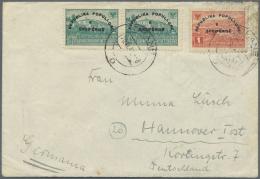 Albanien: 1946 (26.11.), Ausrufung Der Volksrepublik Aufdruckmarken 0,20 Fr. Blaugrün (2) Und 1 Fr. Rot Auf Bedarfs - Albania