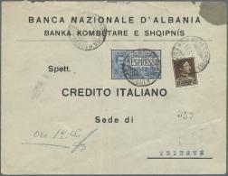 Albanien: 1932 (16.3.), König Zogu 15 Q. Braun Sowie Ital. Eilmarke 1,25 Lire Auf Firmenvordruckbrief Der 'Banca Na - Albania