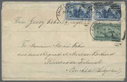"Vereinigte Staaten Von Amerika: 1893, Columbus 3 C. Green And Horizontal Pair 1 C. Blue (faults) Tied By Dublex Cancel "" - United States"