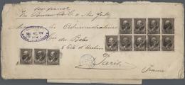 Vereinigte Staaten Von Amerika: 1886, Large Heavy Envelope Bearing Twelve Garfield 5c. Brown On Front And Twelve Wells F - Covers & Documents