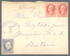 "Vereinigte Staaten Von Amerika: 1883, 1 C. And 2 X 2 C. Cancelled With ""CENTRALIA OCT 8 1883"" In Blue Send To CHRI - United States"