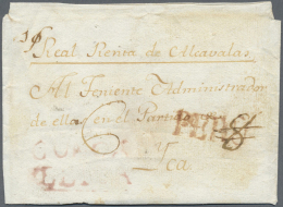 "Peru: 1800 (ca.), Folded Envelope ""I/Real Renta De Alcavalas"" With Spanish ""PERU"" To Yca. In Guinovart Hanboock Only 3 L - Peru"