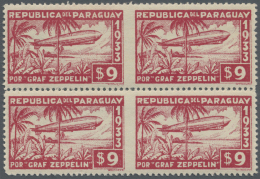 Paraguay: 1933: Zeppelin Sondermarken $9, Viererblock, In Der Mitte Senkrecht Ungezähnt. Ex Sammlung Risch.  1933: - Paraguay