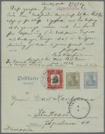 "Panama: 1907/11, 2 C. Scarlet/black Uprating A German Domestic Reply Card 2 Pfg. + 3 Pfg. Sent From ""Ancon Canal Zone 7. - Panama"