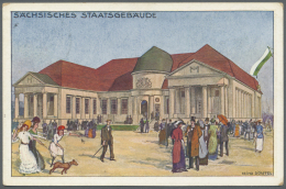 """Thematik: Tiere-Hunde / Animals-dogs: 1913, Dt. Reich. Privat-Postkarte 5 Pf Germania """"Baufachausstellung, Leipzig"""" Mit - Dogs"""