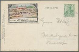 """Thematik: Olympische Spiele / Olympic Games: 1913, Deutsches Reich, Privat-Postkarte 5 Pfg. Germania """"DEUTSCHES STADION - Olympic Games"""