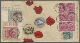 Indien: 1902 QV Postal Stationery Registered Envelope 2a. Uprated By 2r. Carmine & Yellow-brown (corner Marginal), 3 - 1902-11 King Edward VII