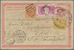 "China - Ganzsachen: 1897, Card ICP 1 C. Uprated Litho Dragon 1 C., 2 C. Canc. Pa-kua Resp. Large Dollar ""SHANGHAI 20 DEC - 1949 - ... People's Republic"