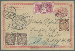 "China - Ganzsachen: 1897, Card ICP 1 C. Uprated Coiling Dragon 4 C, 1 /2 C. Pair Canc. ""TIENTSIN 7 FEB 01"" In Combinatio - 1949 - ... People's Republic"