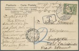 "Singapur: 1907, Incoming Mail, Kiautschou 2 C. Tied ""TSINGTAU 11.3.07"" To Singapore Hotel Caledonien, Boxed ""T."" And Cra"