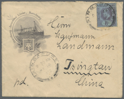 """Singapur: 1903, KEVII 8 C. Tied """"SINGAPORE MY 18 1903"""" To Small Size Illustrated HAPAG-cover To Tsingtau/China, On Rever"""