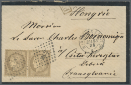 Rumänien - Stempel: 1872, Csicsókeresztúr, Incoming Mail From France, Mourning Cover Franked With Two