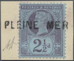 "Großbritannien: 1892, 2½d. Purple/blue On Piece With Clear Strike Of Egypt Sea Post Straight Line ""PLEINE M"
