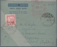 Andorra - Spanische Post: 1952, Aeorogramm Spanien 01,85 Mit Zusatzfrankatur Spanisch Andorra 15 C Von CANILLO Nach Gro&
