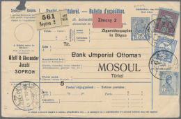 """Türkei - Stempel: 1913, """"MOUSSOUL 1"""" (Isfila No.1, RR) On Reverse Of Parcel Card From Hungary, Minor Corner Faults,"""