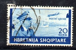 R719 - ALBANIA 1940 , Posta Aerea 20 Q Azzurro N. 7 Usato - Albania