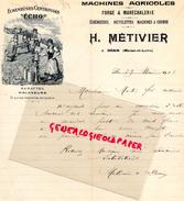 49 - DRAIN -  LETTRE MANUSCRITE SIGNEE- H. METIVIER - MACHINES AGRICOLES -BARATTE ECREMEUSE ECHO- LAITERIE LAIT BEURRE - Petits Métiers
