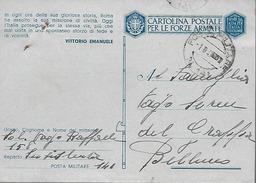 1943 Zara - Occupazione Tedesca - Franchigia Posta Militare 141 Per Belluno - Rarità