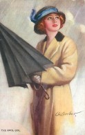 CP ILLUSTREE SIGNEE BARBET - THE APRIL GIRL - FEMME AVEC PARAPLUIE
