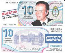 MUESTRA DE CAPACIDAD 10 AÑOS DE ESTABILIDAD DR. CARLOS SAUL MENEM 1989 - 1999 ARGENTINA PRESIDENTE CONSTITUCIONAL - Unclassified