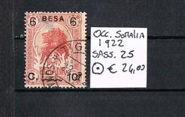 1922 SOMALIA USED NICE STAMPS OVERPRINT BESA SASSONE#25 - Somalie