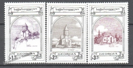 Georgie - Georgia 1995 Yvert 100-102, Definitive, Historic Monuments. Churches - MNH - Georgia