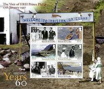 Tristan Da Cunha 2017 MNH HRH Prince Philip Visit 6v M/S Art Royalty Stamps - Familias Reales