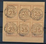 BD-78: MADAGASCAR:  N°11 Bloc De 6 Coin De Feuille (1 Ex Avec Défauts En Haut à Gauche) Obl Du 2/3/1895