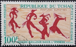 REPUBLIQUE DU TCHAD PA Y&T 42 (o) PEINTURES RUPESTRES 100F RECTO VERSO - Chad (1960-...)
