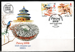 2008 Serbia, FDC, Sport, Peking, Olympic Games, Beijing, MNH