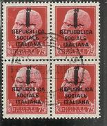 ITALIA REGNO ITALY KINGDOM 1944 RSI REPUBBLICA SOCIALE IMPERIALE CENT 75 QUARTINA BLOCK USATA USED OBLITERE' - 4. 1944-45 Repubblica Sociale