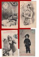 12 Cpa Carte Postale Ancienne - Illustrateur Bergeret La Journee De La Parisienne Oeuf De Paques  La Jeune Epouse Ect - Bergeret