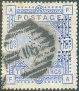 N°88 - 10sh. Bleu, Perforé «H.S.B.», Obl. à Barres 105. Yv. 500 Euros. - TB  - 11790 - 1840-1901 (Victoria)