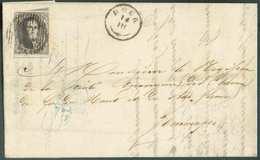 N°3 - Médaillon 10 Centimes Brun-gris, Touché à Gauche Sinon Bien Margé Et 2 Grands Voisins, Obl. D.13 Sur Lettre De DOU - 1849-1850 Médaillons (3/5)