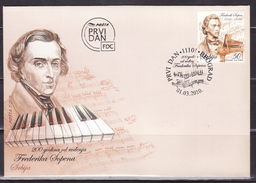 SERBIA 2010,200th Birth Ann.-Frederic Chopin,FDC - Musique
