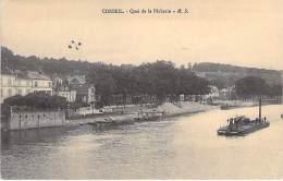 """91 - CORBEIL ESSONNES : Quai De La Pêcherie - Péniche """" Drague ? ) CPA Essonne - Barge Lastkähne Aken Chiatte Barcazas - Corbeil Essonnes"""