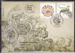 Serbia, 2012, China - Lunar Horoscope, Year Of Dragon, FDC