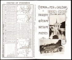 """HORAIRES -EXCURSIONS  """" CHEMINS De FER D'ORLEANS (TOURAINE-AUVERGNE-BRETAGNE-PYRENEES )  Absolument TOUT NEUF    1906 - Tourism Brochures"""