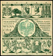 1919 Central Lithuania Litauen Lituanie Poland Polen Pologne WILNO Vilna VILNIUS Food Ration Card Revenue VERY RARE !! - Lituanie