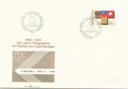 LIECHTENSTEIN FDC DU 4 DECEMBRE 1969 VADUZ 100 JAHRE TELEGRAPHIE