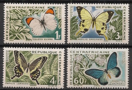 Centrafricaine - 1963 - N°Yv. 31 à 34 - Papillons - Neuf Luxe ** / MNH / Postfrisch - Schmetterlinge