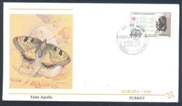 Turkey 1985 Cover: EUROPA CEPT Music: Fauna Butterfly Schmetterling Papillon; False Apollo (Archon Apollinus) - Schmetterlinge