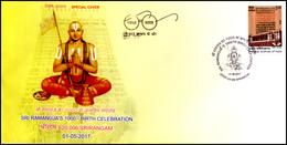 India, 2017, Special Cover, Sri Ramanuja's 1000th Birth Celebration, Srirangam, Religion, Spiritual, Hinduism, Spci132 - Hinduism
