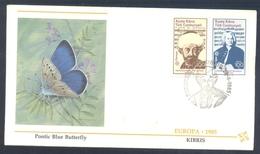 Turkish Cyprus 1985 Cover EUROPA CEPT Music: Fauna Butterfly Schmetterling Papillon; Pontic Blue (Polyommatus Coelestin) - Schmetterlinge