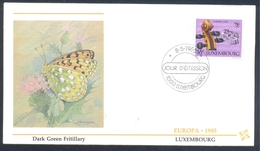Luxembourg 1985 Cover: EUROPA CEPT Music: Fauna Butterfly Schmetterling Papillon Dark Green Fritillary (Argynnis Aglaja) - Schmetterlinge